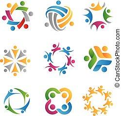 logos, sociale, icone