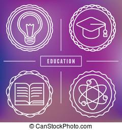 logos, stile, contorno, icone, vettore, educazione