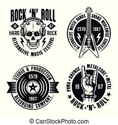 logos, stile, set, vendemmia, etichette, n, vettore, musica, roccia, bianco, emblemi, rotolo, tesserati magnetici