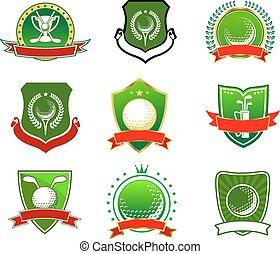logos, style, emblèmes, golf, héraldique
