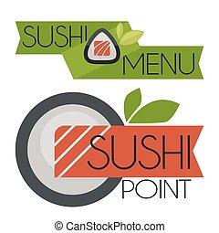 logos, sushi., vektor, samling