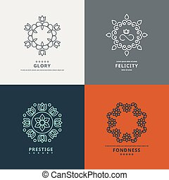 Logos templates in style with floral elements