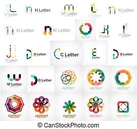 logos, uniwersalny, komplet, różny, towarzystwo