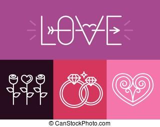 logos, vecteur, amour, contour, signes