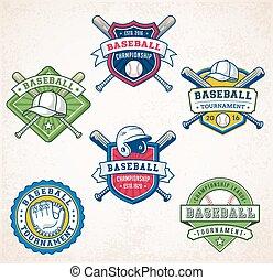 logos, vecteur, base-ball, coloré