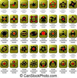logos, vecteur, collection, icônes