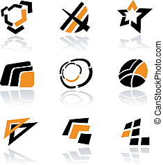 logos, vecteur, ensemble