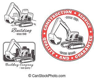 logos., vecteur, ensemble, excavator.