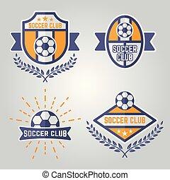logos, vecteur, isolé, emblèmes, 2, partie, football, ou
