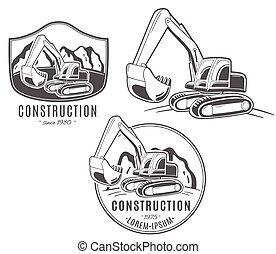logos., vector, conjunto, excavator.