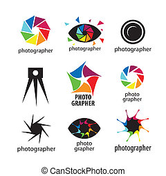 logos, vektor, fotografi, samling, fotografer
