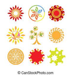 logos, vektor, sammlung, form, sonne