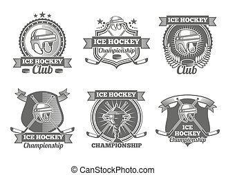 logos, vendange, étiquettes, glace, emblèmes, vecteur, hockey