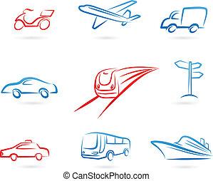 logos, vervoer, iconen