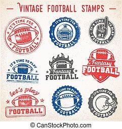 logos, vettore, grunge, football