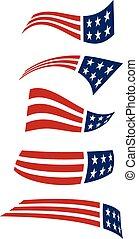 logos., voando, bandeira americana, vetorial, desenho