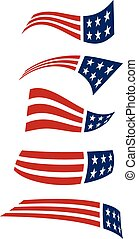 logos., volare, bandiera americana, vettore, disegno
