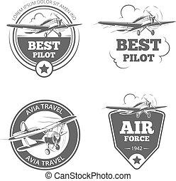 logos, weinlese, set., eindecker, flugzeug, embleme, vektor,...