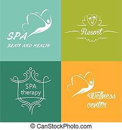 logos, zentrieren, satz, wohlfühlen, vektor, spa