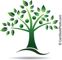 logotipo, árbol., árbol, familia , gente