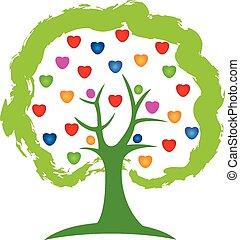 logotipo, árbol, corazones del amor, vector