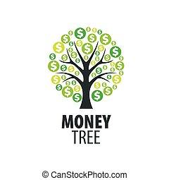 logotipo, árbol, dinero