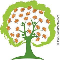 logotipo, árbol, gente, otoño, leafs
