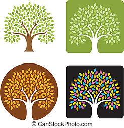 logotipo, árbol, ilustración