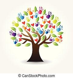 logotipo, árbol, manos, y, corazones, vector, icono