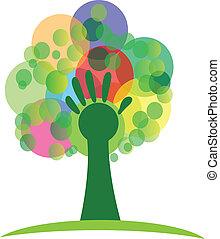 logotipo, árbol, ramos, mano