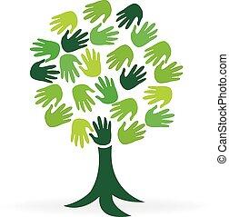logotipo, árbol, verde, manos