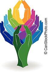 logotipo, árvore, coloridos, mãos