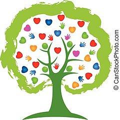 logotipo, árvore, corações, conceito
