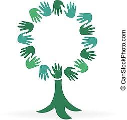 logotipo, árvore, mãos