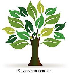 logotipo, árvore, pessoas