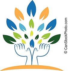 logotipo, árvore, segurando, folheia, mãos