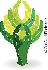 logotipo, árvore verde, mãos