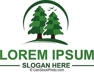 logotipo, árvores pinho