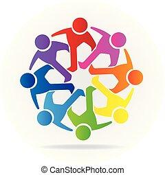 logotipo, ícone, amizade, trabalho equipe