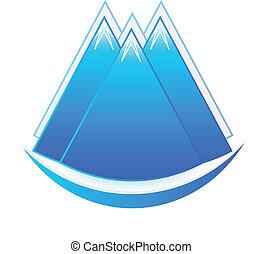 logotipo, ícone, montanhas