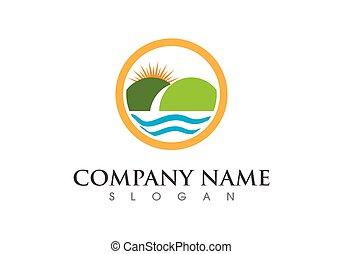 logotipo, ícone, negócio, modelo, montanha