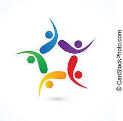 logotipo, ícone, trabalho equipe, swooshes