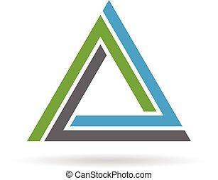 logotipo, ícone, triangulo, volta, design.