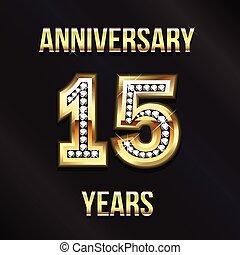 logotipo, 15, anniversario, anni