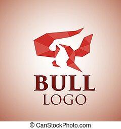 logotipo, 2, touro