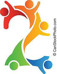 logotipo, 2, trabalho equipe, número