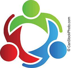 logotipo, 3, desenho, sócios negócio
