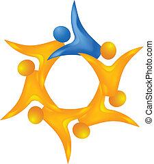 logotipo, 3, liderazgo, trabajo en equipo, d