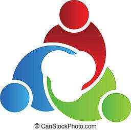 logotipo, 3, reunião, desenho, negócio