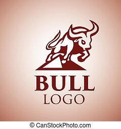 logotipo, 3, touro